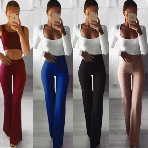 Femme mode vêtements Palazzo évasé large jambe pantalon taille haute OL dames carrière Long pantalon