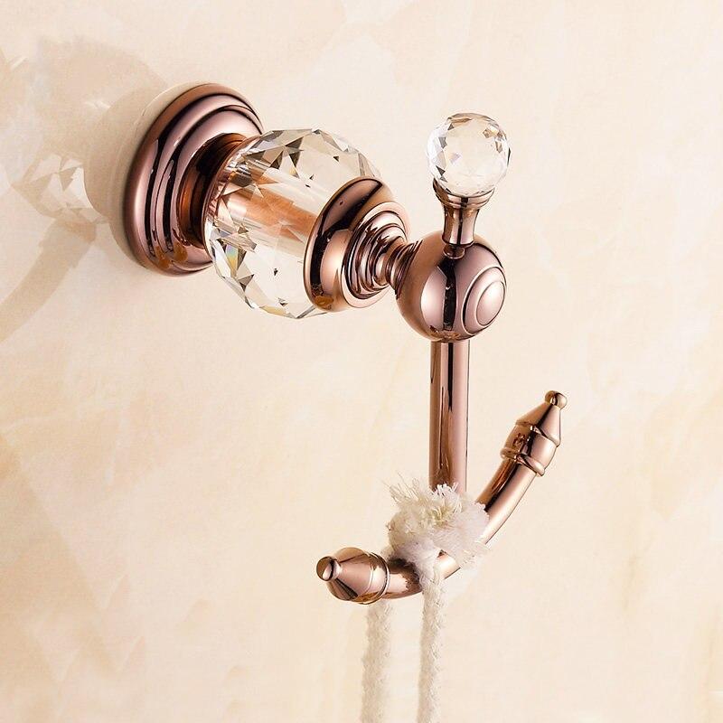 Купить с кэшбэком Antique Polished Crystal Robe Hooks Solid Brass Chrome Coat Hooks Wall Hooks Wall Hanger Bathroom Accessories