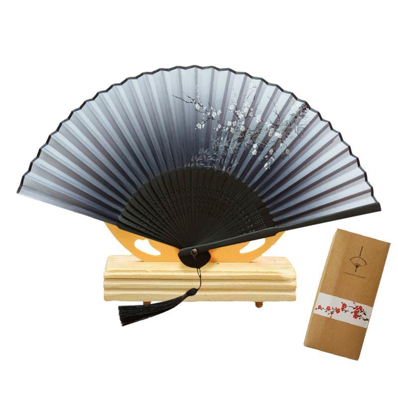 Abanico de mano plegable estilo japonés caja de regalo de gama alta abanico de seda pintado floral plegable de mano