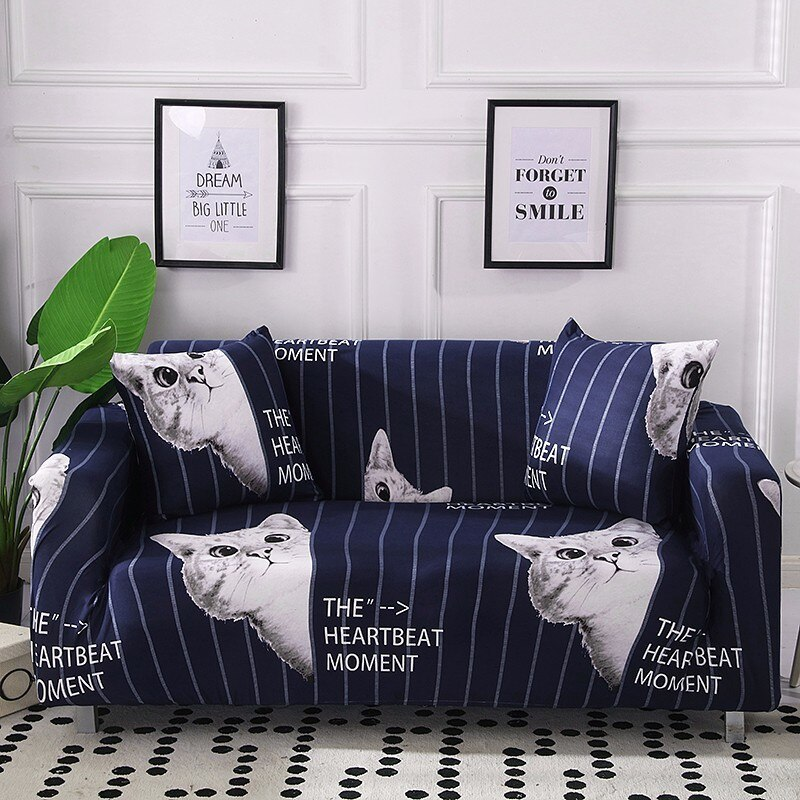 Cute Cat Printed Sofa-slipcover Tight Wrap 4 Season All-inclusive Elastic Striped Sofa Towel Corner Couch Cover 1/2/3/4-seater