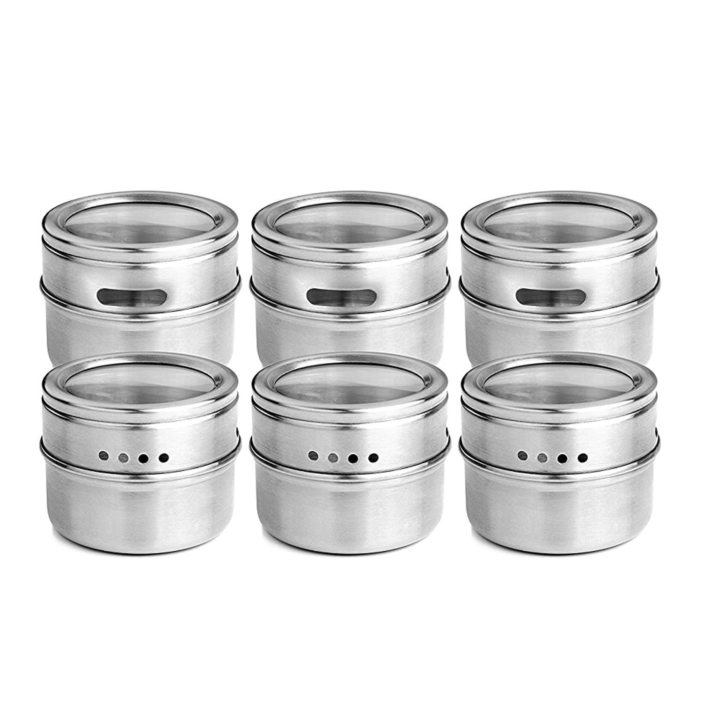 NHBR-6pcs/conjunto tampa clara magnética spice jar aço inoxidável tempero molho recipiente de armazenamento potes cozinha condimento titular casa