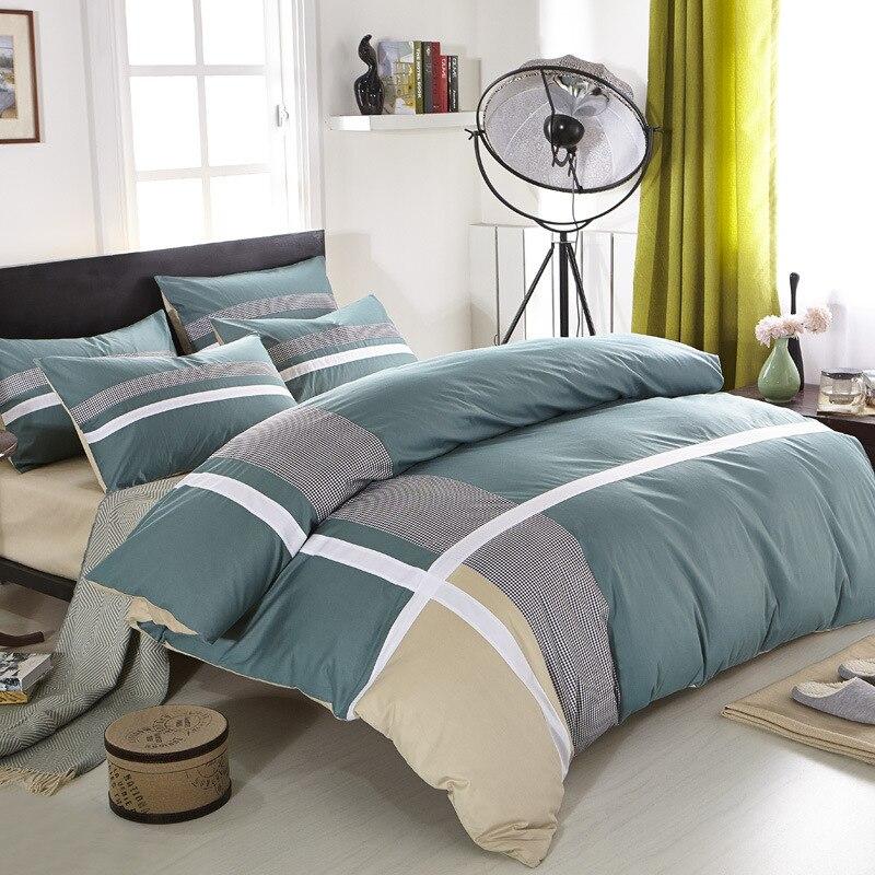 Juego de cama de rayas concisas de algodón de lujo de 26 tipos, edredón doble de tamaño King Queen, Sábana entallada, Sábana plana y funda de almohada Edredon