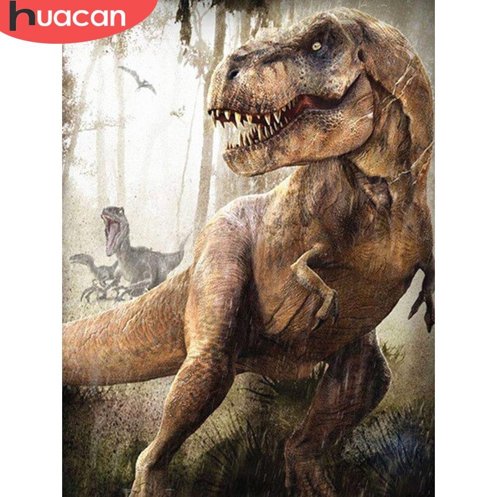 Huacan 5d Diy pintura de diamante dinosaurio Animal completo taladro diamante bordado diamante mosaico imagen de diamantes de imitación hecho a mano