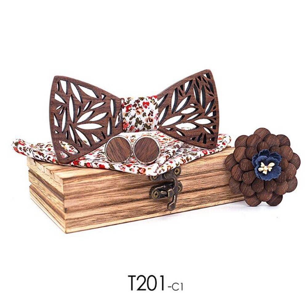 Men wooden bow Tie set and Handkerchief Bowtie Necktie Cravate Homme Noeud Papillon Man Corbatas Hombre Pajarita