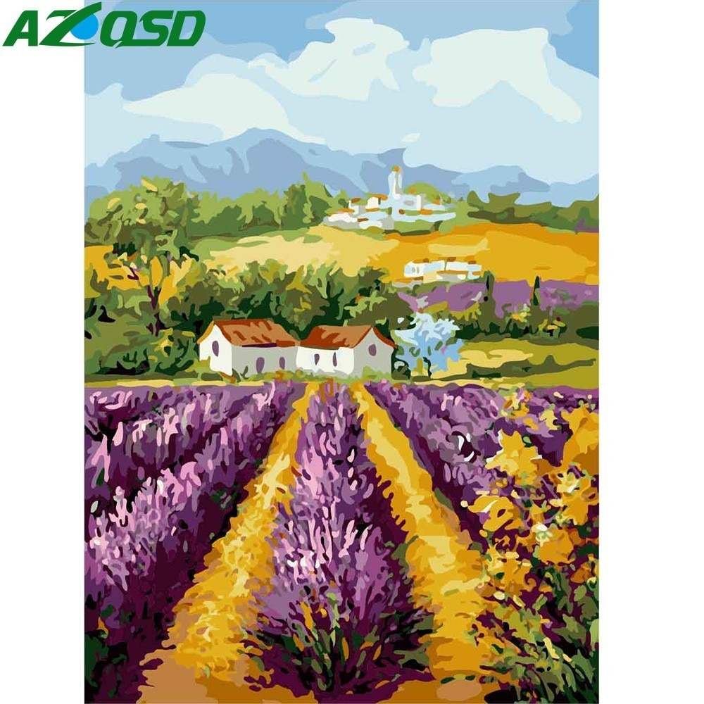 Pintura al óleo AZQSD sin marco DIY cuadros de campo por lienzo con números pared paisaje de fotos arte de pared decoración del hogar K179