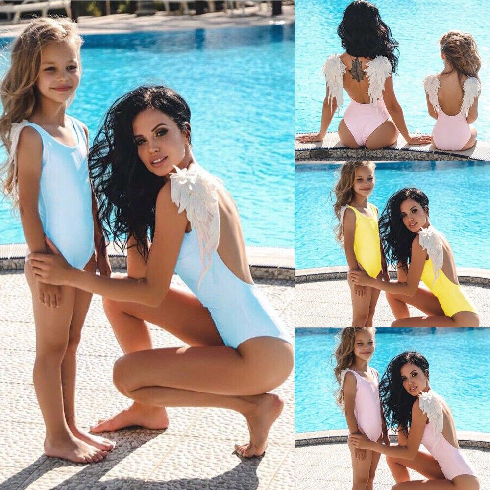 Одинаковые купальники для всей семьи, милый Цельный купальник с крыльями ангела для мамы и меня, пуш-ап, купальный костюм с подкладкой, летня...
