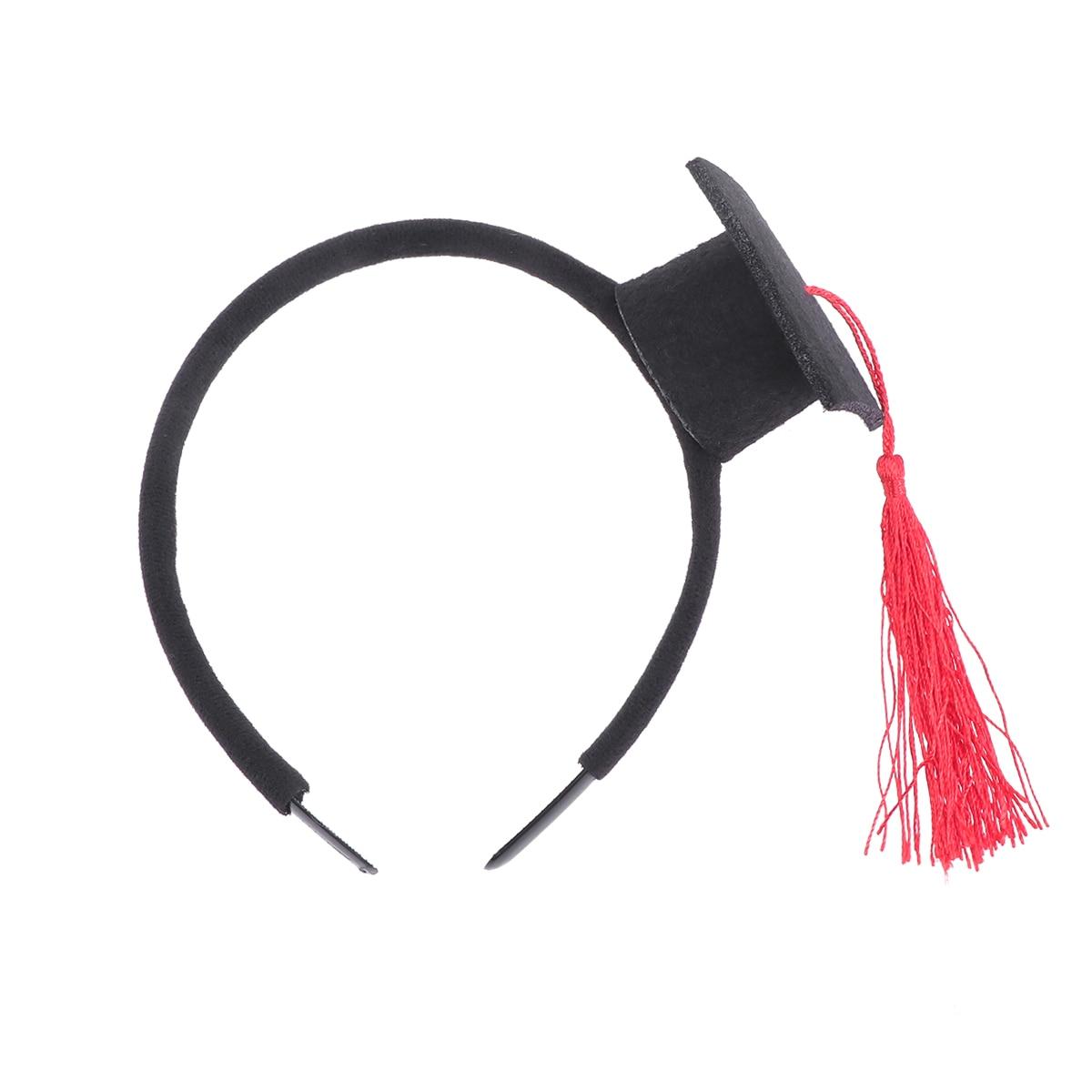 Mini gorra Doctoral banda para el cabello fiesta estereoscópica cabeza pieza decoración de graduación (Estilo negro (rojo)