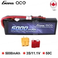 gens ace 5000mah 11 1v 3s 50c lipo battery pack with deans and xt60 connector for traxxas models 110 18 rc car