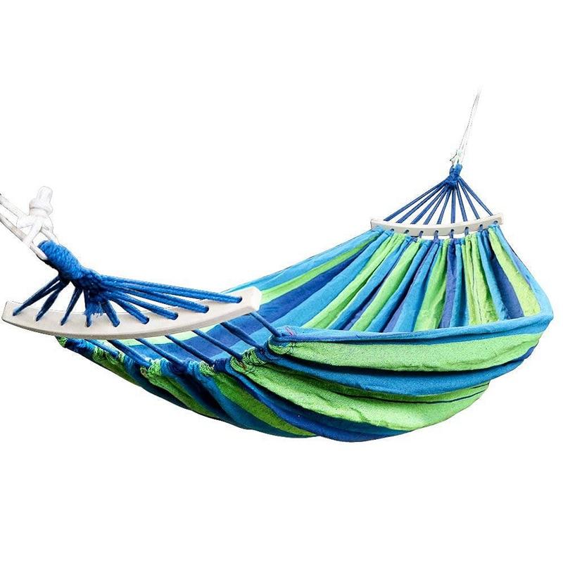 Podwójny hamak 450 Lbs przenośny podróż na kemping hamak huśtawka pufa relaksacyjna płótno hamaki meble ogrodowe