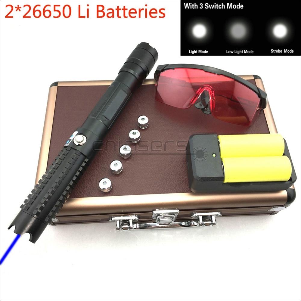 CNILasers BX8 Adjustable Focus 450nm Blue Laser Pointer BURNING Visible Laser Pen High Power Lazer Torch & 3 Switch Modes