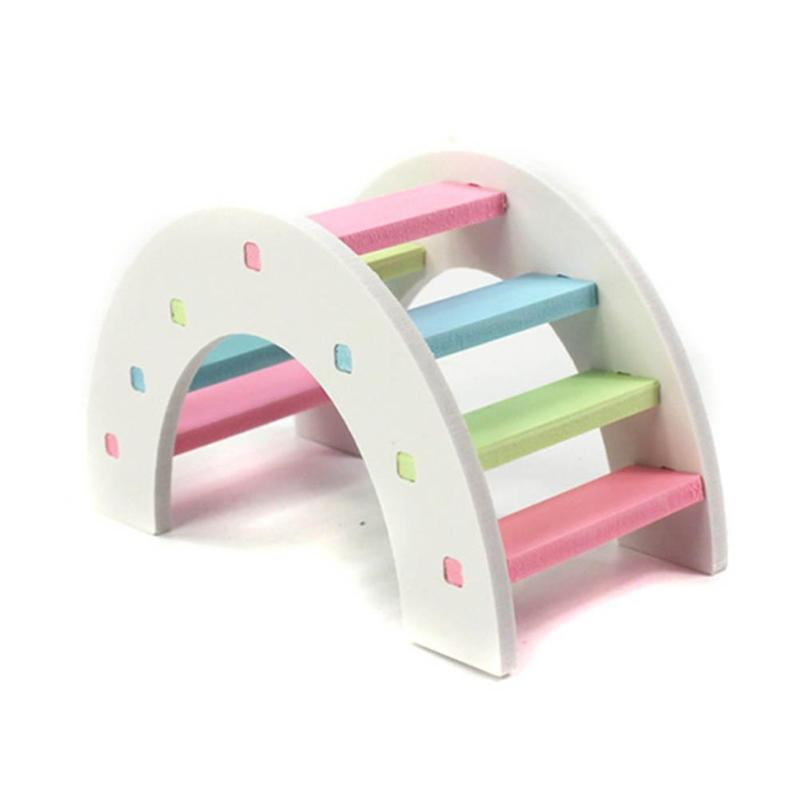 Bonito hámster colorido escalera juguetes pequeños animales escalada madera Arco Iris puente de juguete accesorios para mascotas 14X7X8 cm/5,51X2,76X3,15