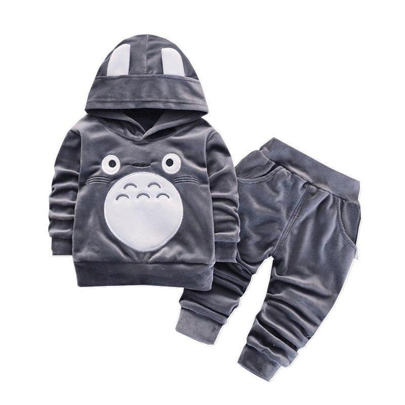 Mode enfants garçons fille dessin animé vêtements costumes bébé velours sweats à capuche pantalon 2 pièces/ensembles printemps automne vêtements bambin survêtements