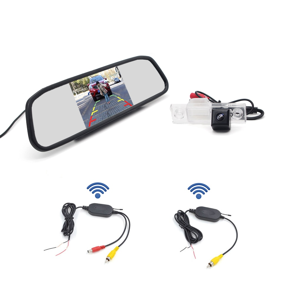 "Monitor de espejo retrovisor de 4,3 ""+ cámara de visión trasera de coche con cable/inalámbrica para CHEVROLET EPICA LOVA AVEO CAPTIVA CRUZE LACETTI"
