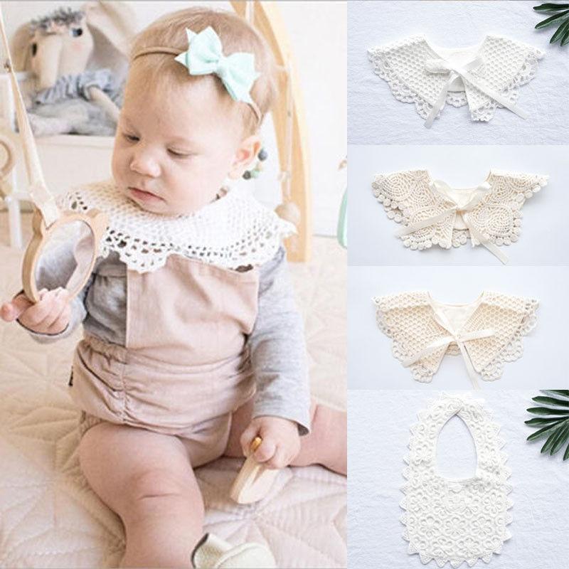 Cute Newborn Baby Kids Cotton Lace Bow Bib Infant Bib Burp Cloths Saliva Towels Cute Baby Hollow Out Tassels Flower Bids