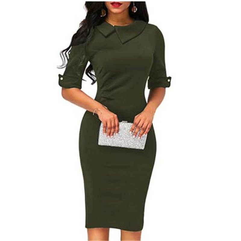 Elegante Frauen BOHO Büro Drehen unten Kragen Formale Kleid Damen Business Arbeit Party Mantel Tunika Bleistift Kleid