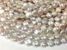 Bonita perla de agua dulce redonda moneda plana keishi cuentas aprox.
