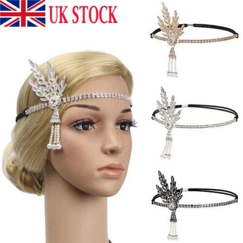 2019 nuevo estilo 1920s Flapper gran diadema estilo Gatsby perla Charlestón fiesta nupcial señora