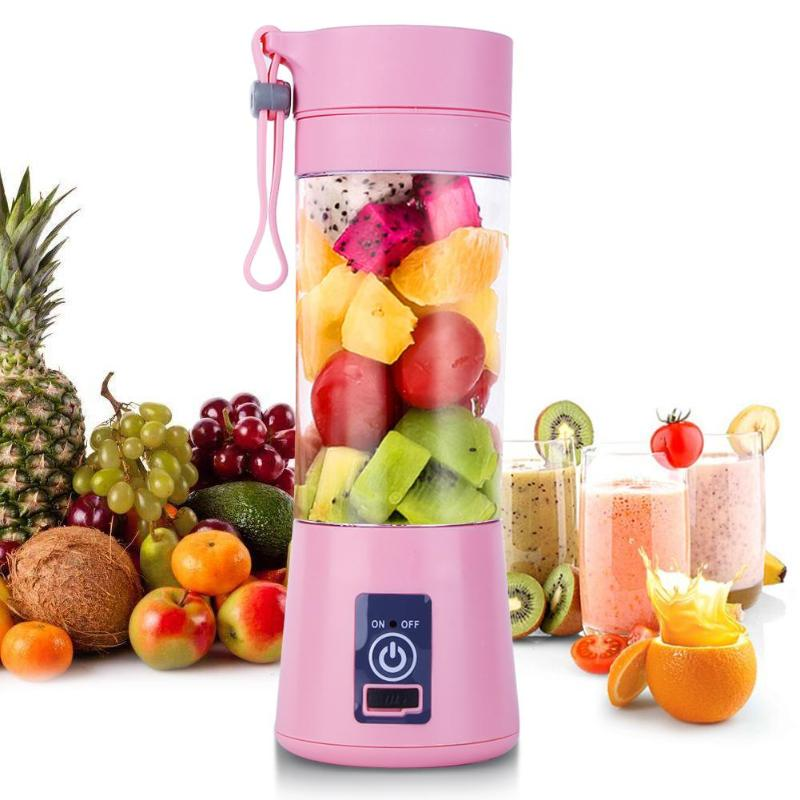Mezclador de licuadora recargable Usb de 380Ml, 6 hojas, exprimidor, botella, zumo, limón, verduras, frutas, batidos, exprimidores, escariadores