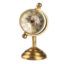 Spinning Globe Reloj de escritorio de oro para Mujeres Hombres regalo creativo para reloj de bolsillo cobre reloj de mesa Reloj de bolsillo mecánico