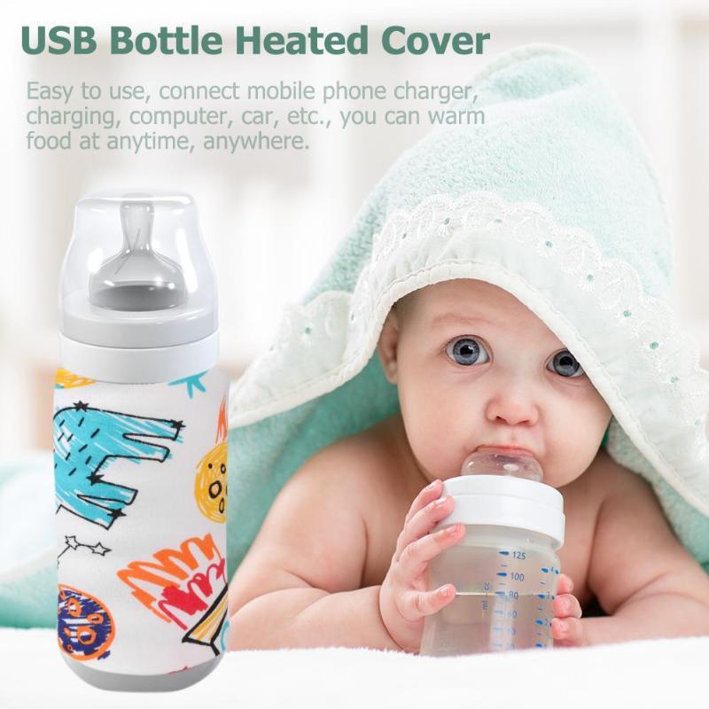 Calentador de biberones portátil para viaje con USB, calentador de biberones para exteriores, funda tipo bolsa para botella para alimentación infantil, seguridad, alimentación caliente, calor