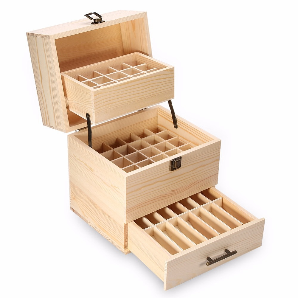 3 Layers Wooden Storage Box Carry Organizer Storage Box Essential Oil Bottles Aromatherapy Container Metal Lock Jewelry Treasu