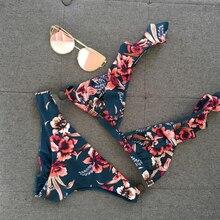 2019 Two-Pieces Women Floral Push-up Padded Bra Ruffle Bandage Bikini Set Triangle Swimsuit Triangle Swimwear Bathing Suit Beach