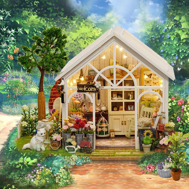 Casa de DIY para muñecas rompecabezas de madera juego de muebles en miniatura juguetes regalos de cumpleaños caja hecha a mano montar sol flor casa de muñecas modelo