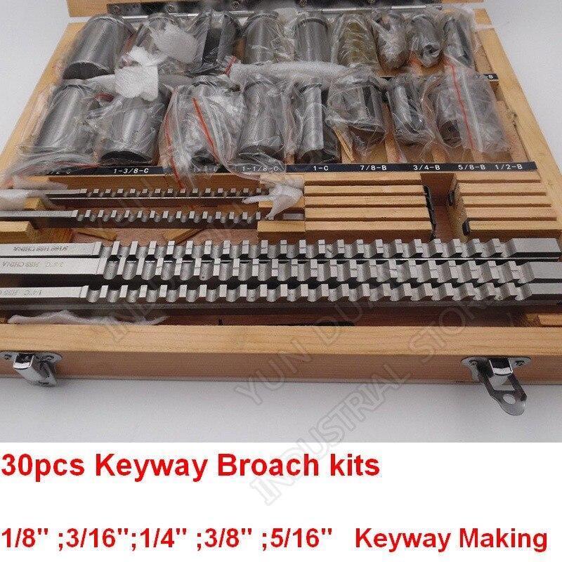 Keyway-مجموعات عرض لأعمال المعادن ، 30 قطعة ، مقاس بوصة ، مثقاب ودبابيس HSS لتطريز CNC