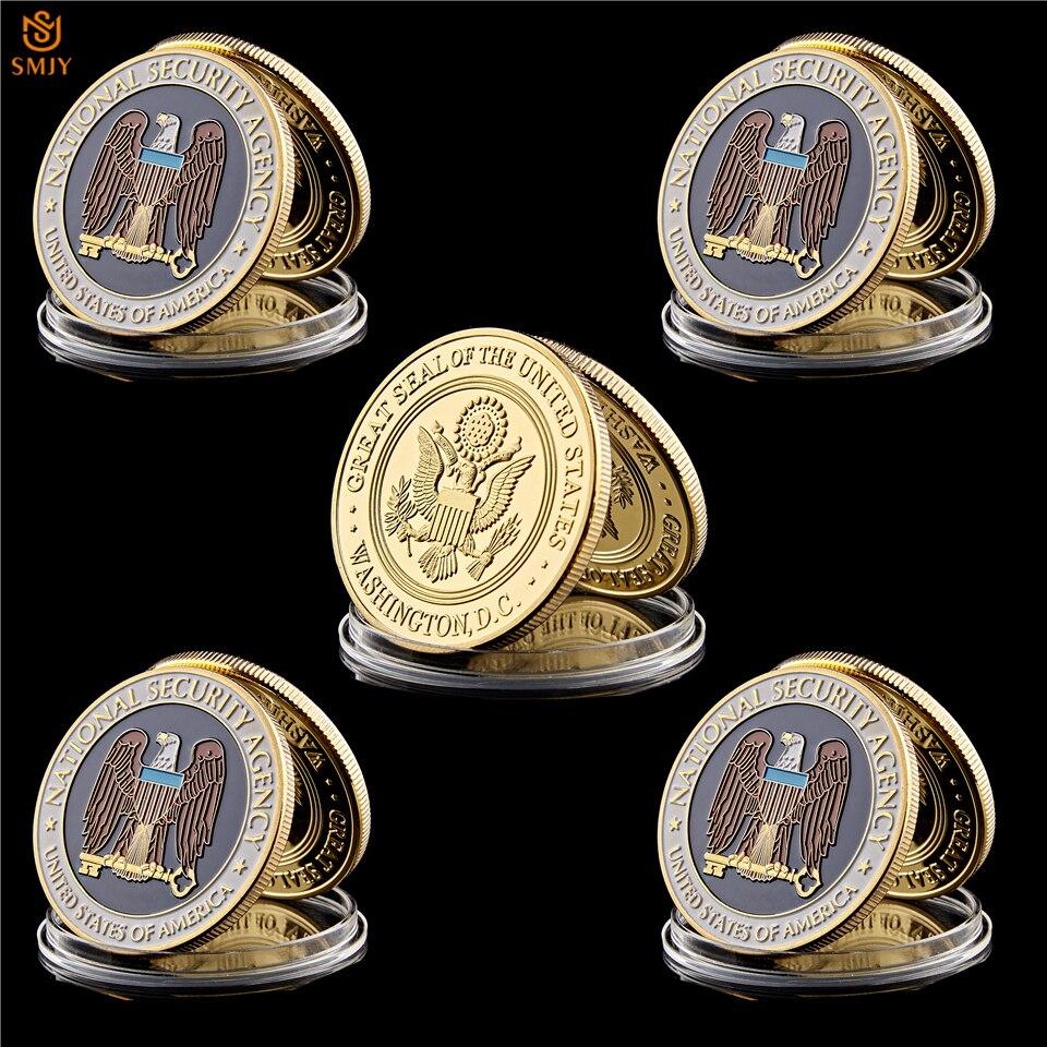 5 uds. Ee.uu. Washington.D.C Agencia de Seguridad Nacional EE. UU. Águila de La Libertad chapado en oro Moneda de desafío colección de regalo de arte
