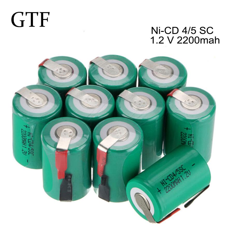 GTF 1/2/6/10/20 piezas 4/5 Sub C SC ni-cd 2200mAh 1,2 V batería recargable tapa plana para aves de corral y batería de iluminación de emergencia SC