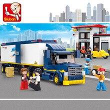 Sluban B0318 مدينة فان البضائع الثقيلة مركبة شاحنة الراحة محطة نموذج DIY بناء كتل الطوب الجمعية لعبة للأطفال لا مربع