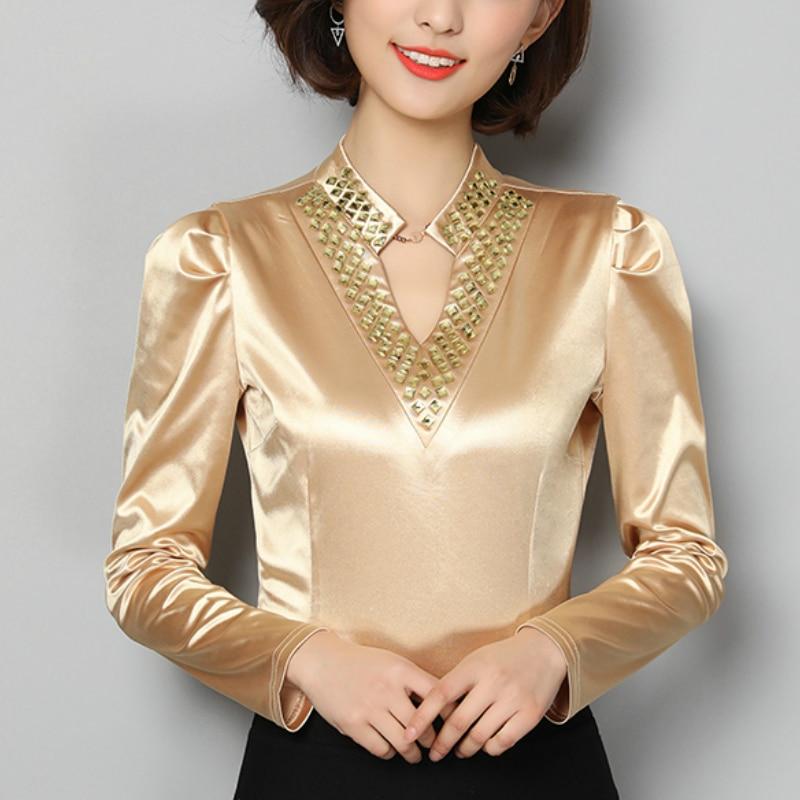 Moda Mujer tops y blusas cuello en V Oficina blusa mujeres tops más tamaño gasa blusa camisa manga larga mujeres camisas A955