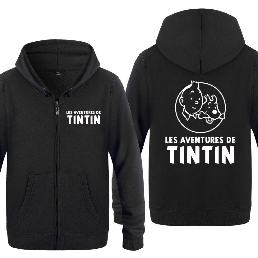 Tintin Adventure Cute Cartoon Anime sudaderas hombres 2018 hombres cremallera con capucha polar sudaderas con capucha Cardigans
