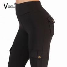 Women Fitness High Waist Leggings Black Spandex Workout Legging Pants Fashion Female Army Green Pocket Capris Leggings Plus Size