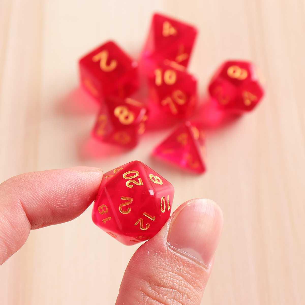 7 pces conjunto de dados multisided vermelho polyhedral acrílico diques role playing jogo de poker d & d rpg 4 6 8 10 12 20 D4-D20 com saco
