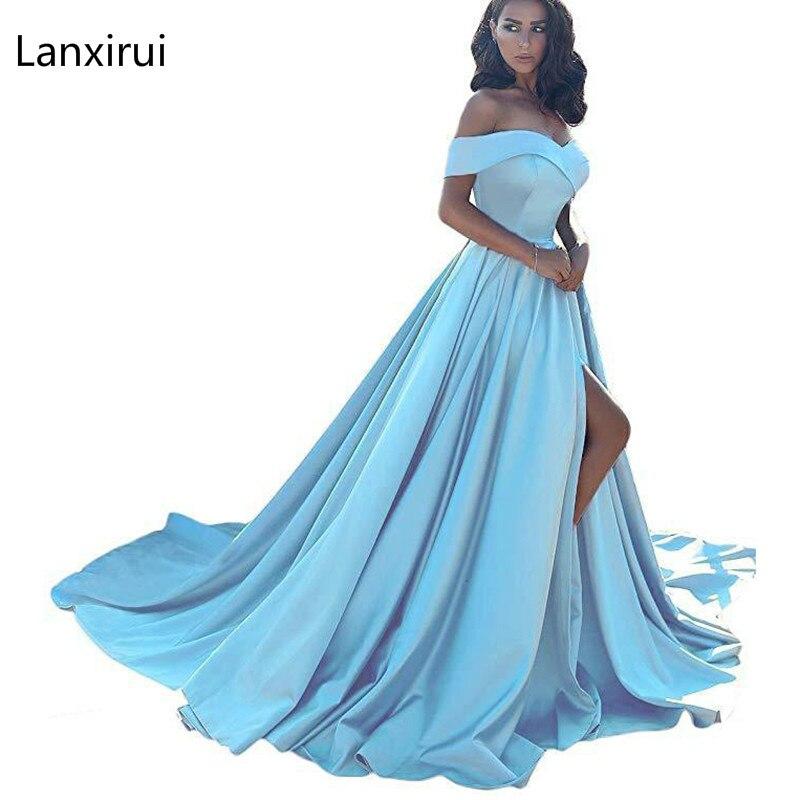 Slash Neck Off Shoulder Floor-Length Dress Sexy Women High Waist Summer Pleated Wedding Party Dress Blue Elegant