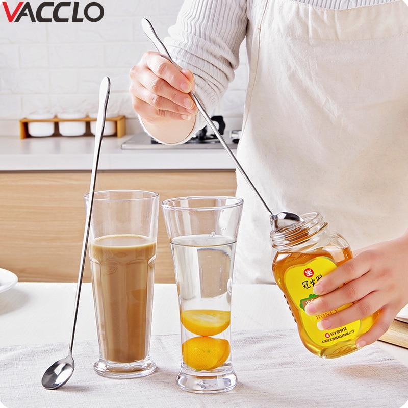 Вакуумная ложка для смешивания с длинной ручкой из нержавеющей стали, чайная ложка для кофе, мороженого, десертная ложка, кухонные инструменты, кухонная посуда, столовая ложка