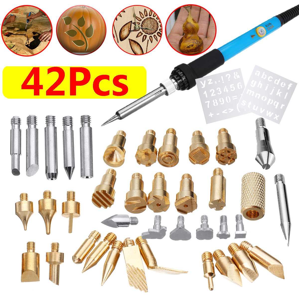 42 Uds 60W Kit de soldadura eléctrico de hierro punta de la pluma de la quema de madera herramienta de artesanía de pirograbado 110 V/220 V US/EU Reparación de enchufe para carpintería