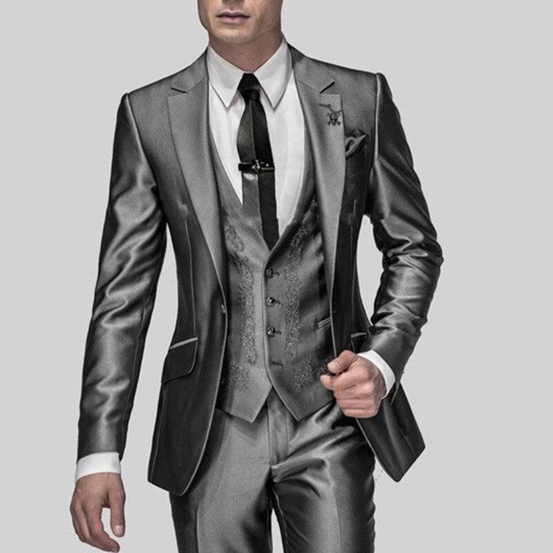 Gran oferta de esmoquin esbelto para novio, color gris brillante, las mejores solapas de muesca Traje De Hombre de padrinos de boda, trajes de novio para boda (chaqueta + pantalón + chaleco)