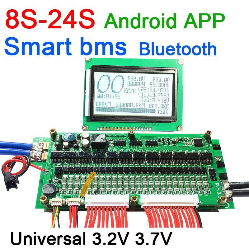 Inteligente 8S - 24S 70A/100A/200A/300A bms Placa de protección de batería Bluetooth APP Lifepo4 Li-Ion 10S 12 13 14S 16S 20S
