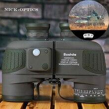 Boshile مجهر العسكرية 10x50 المهنية البحرية مناظير مقاوم للماء البوصلة الرقمية تلسكوب عالية الطاقة lll للرؤية الليلية