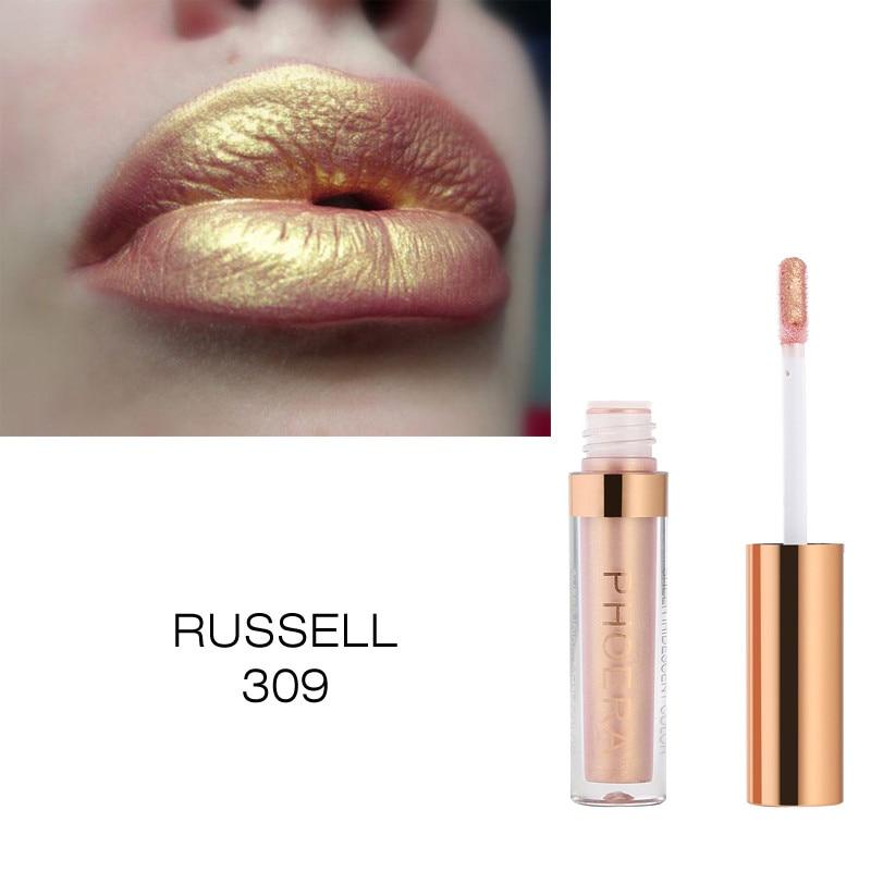 16 Color Holographic varnish Gold Metallic Lip Gloss Glitter PHOERA Glow Laser HANDAIYAN Lip Tint Diamond Lipgloss Makeup TSLM2