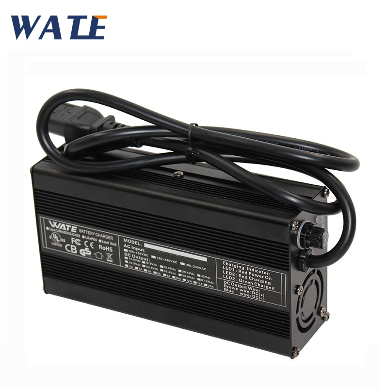 Cargador inteligente de batería Li-ion 25,2 V 8A 6S 24V Lipo/LiMn2O4/LiCoO2 cargador de batería con carcasa de aluminio para ventilador