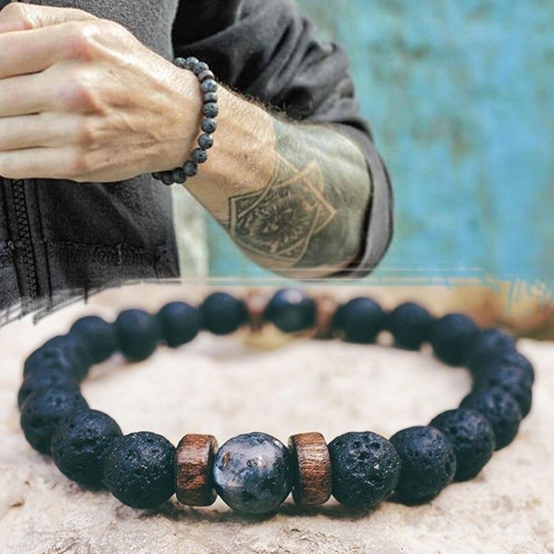 Pulsera de hombre, Cuenta de piedra lunar Natural, pulsera tibetana de Buda, pulsera difusora de piedra de Lava chakra, pulseras, regalo de joyería para hombres, triangulación de envío