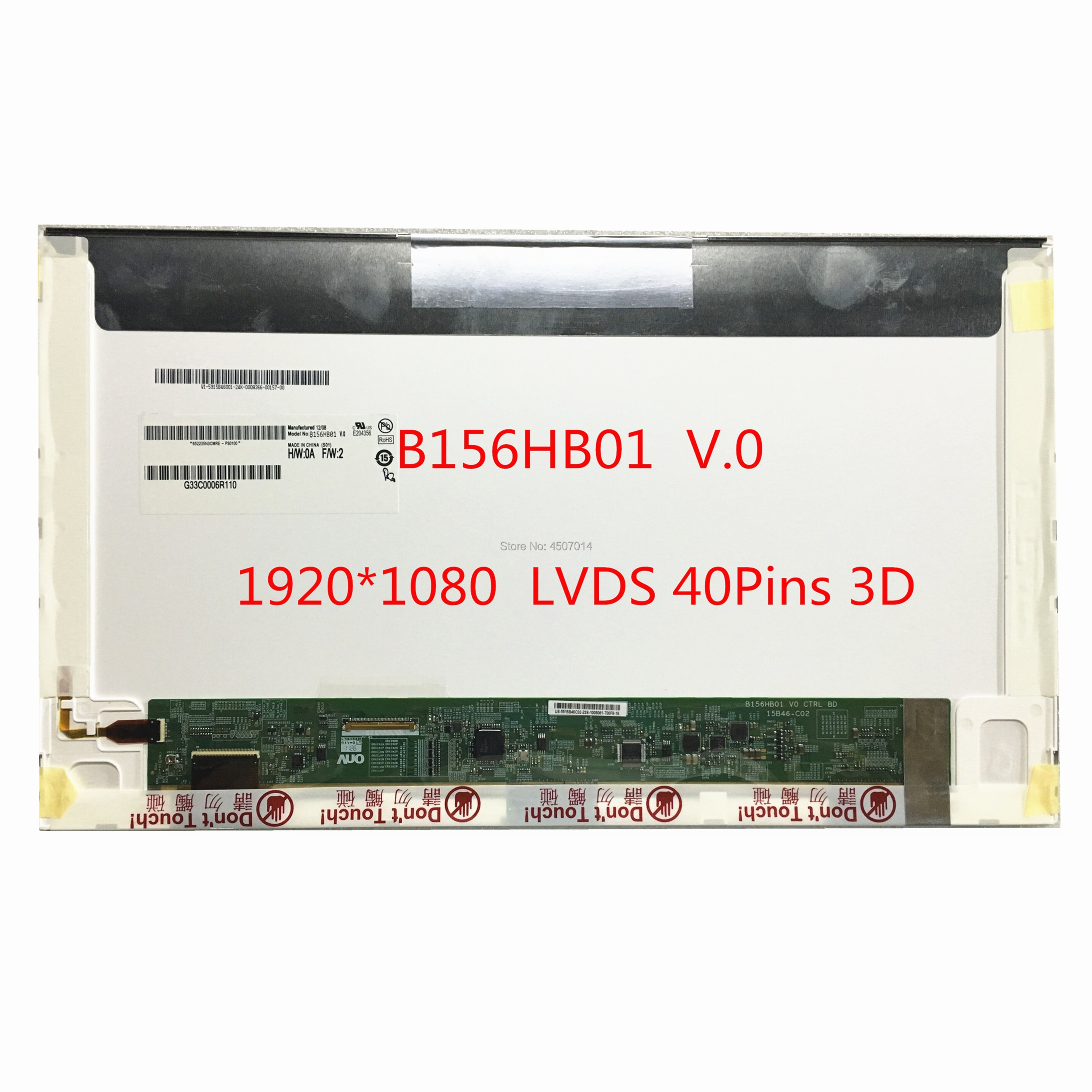 شحن مجاني B156HB01 V.0 B156HB01 V0 15.6 ''inch FHD 3D محمول Lcd شاشة 1920*1080 LVDS 40 دبابيس