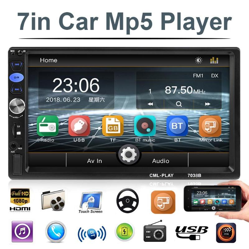 VODOOL 7038B 2Din 7 inch Car Multimedia MP5 Player FM Radio Bluetooth Head Unit with Remote Control Car Intelligent Music Player