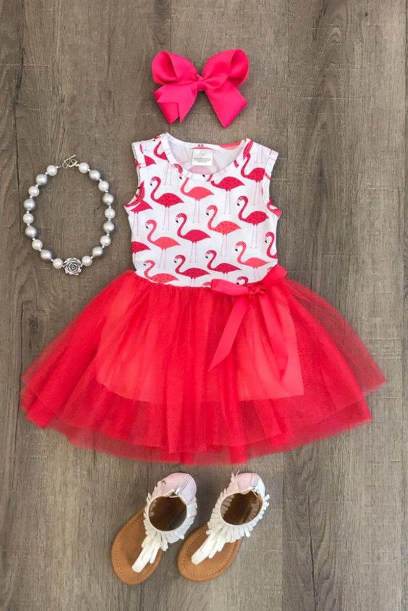 Pudcoco Girl Dress 0-5Y Toddler Newborn Kid Baby Girl Princess Animal Flamingo Dress Outfit Summer