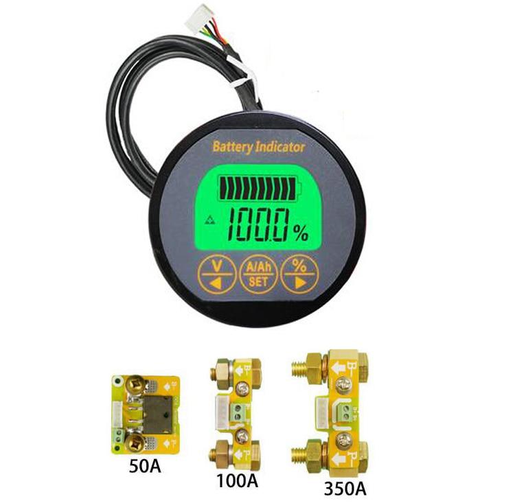 Monitor de bateria 50a 100a 350a coulomb medidor indicador de capacidade tensão detector de corrente carro ebike li-ion ups lítio chumbo-ácido
