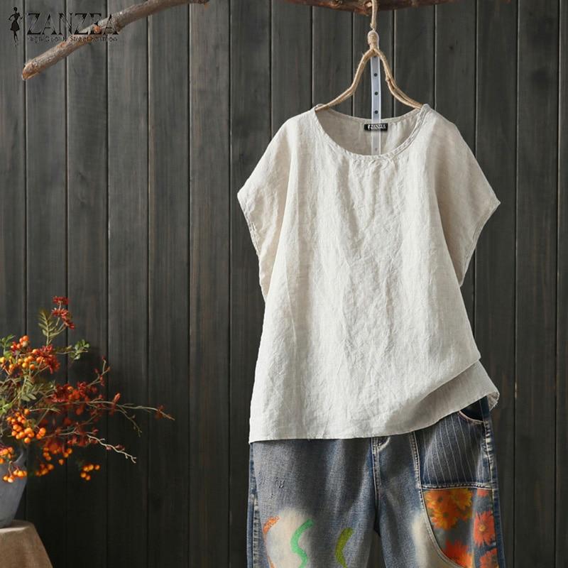 ZANZEA 2020 verano camisas de lino WomenVintage Blusa de manga corta Mujer cuello redondo Split Blusas túnica Tops de talla grande camisa