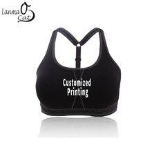Lanmaocat soutien-gorge de sport pour femmes salle de sport Logo personnalisé impression de texte Fitness hauts femmes soutien-gorge en cours dexécution antichoc soutien-gorge livraison gratuite